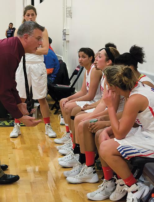 Head+Coach+Jeff+Lorenz+motivates+the+women+during+a+timeout.