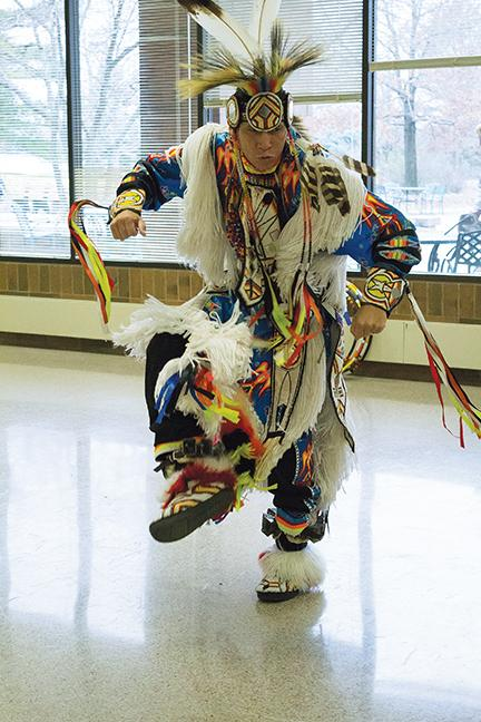 Ronald Preston's ceremonial dance impresses the crowd.