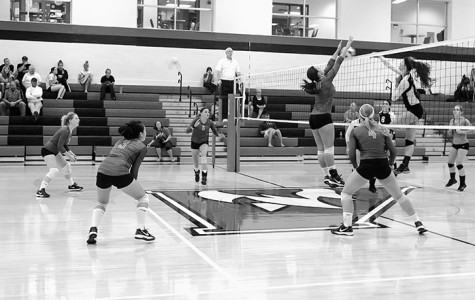 Team Co-Captain Ellie DuJardin (10) defends the net against the Madison College Wolf Pack, while the rest of the Stormers prepare to launch their next attack.