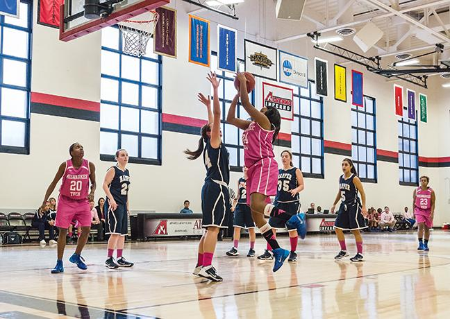 """During their """"Pink Out"""" benefit game, the Stormer women rocked out a win 84-65 against the Harper College Hawks. Benetta Jones (#24) shoots for two while Shonnice Vaughn (#20) gets into position for the rebound."""