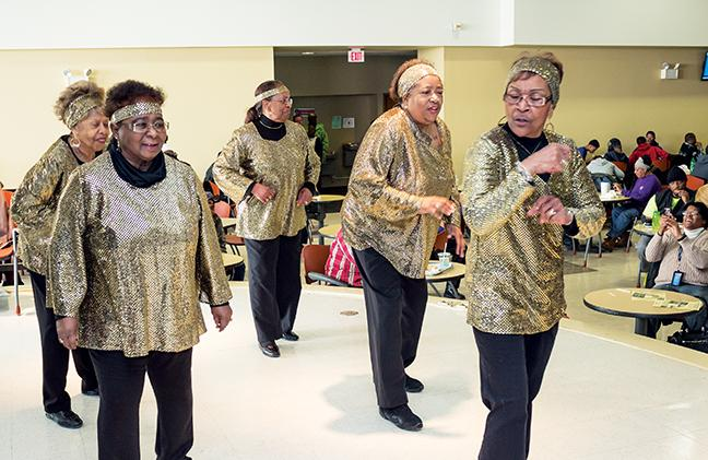 Jazzy Jewels, an older adult troupe that ranges between the ages of 60 to 80 years young who love to line dance to upbeat and popular music, performed on Feb. 25 as part of this year's Black History Month celebration.