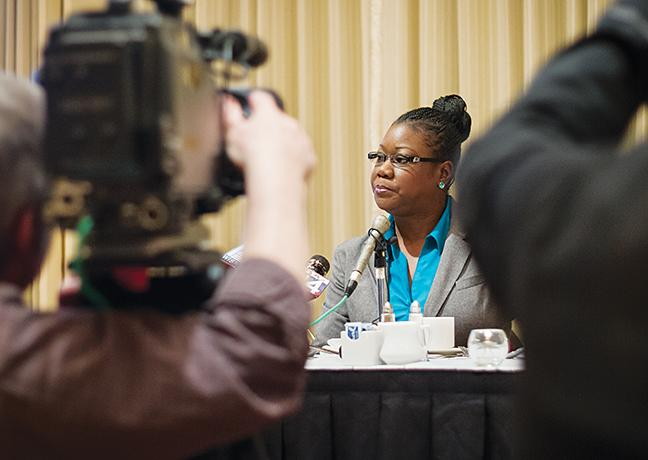 Lauren Wylie/Times Guest speaker Sybrina Fulton, mother of Trayvon Martin, discusses her son at a press conference before MATC's Soul Food Celebration on March 14.