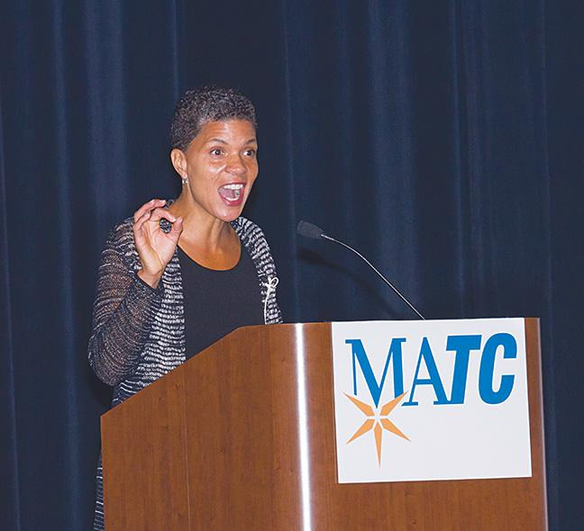 "Michelle Alexander speaking about her book, ""The New Jim Crow: Mass Incarceration in the Age of Colorblindness,"" to a full house at the Cooley Auditorium on Sept. 26."