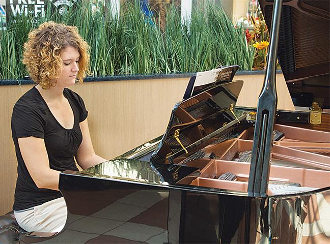 Music Occupations student Tiffany Natter performs at Mayfair Mall.