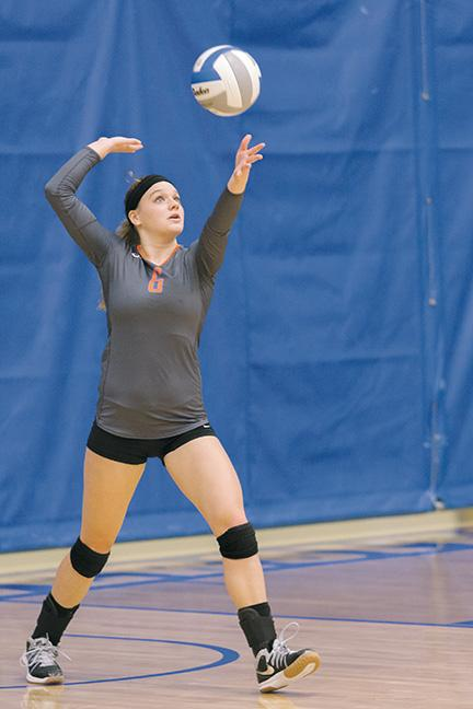 Halle Ringelberg (#6) is a middle hitter and a co-captain. Ringelberg is in the Early Childhood Education program.