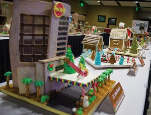 Finished gingerbread houses after judging await their transfer to the Milwaukee Public Market for display and the award ceremony.