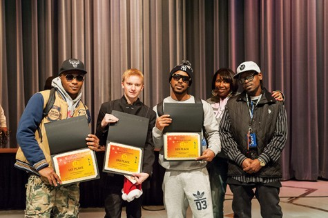 Langston Alexandra, Temper, and Claybo are winners of the first Hip-Hop Club talent show put on by Wanda Nash, vice-president, and Daniel Klein, president.