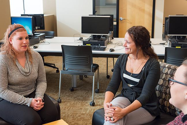 Dietetic Technician students Brianna Halfmann, Samantha Ackerman, and Dayna Hartmann practice offering nutrition counseling to each other.  These services will be offered free to MATC students on Wednesdays through March in the HEC Building.