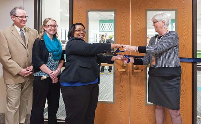The newly remodeled library located at the Downtown Milwaukee campus had its office ribbon-cutting ceremony on April 15. The sleek design includes a new staircase giving direct access down to the Student Academic Support Center.