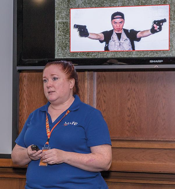 On Sept. 8, at the MATC Downtown Milwaukee campus, Shari Olszewski, coordinator of emergency management, speaks to staff and students during the Active Shooter Workshop on how to stay safe on the MATC campuses.