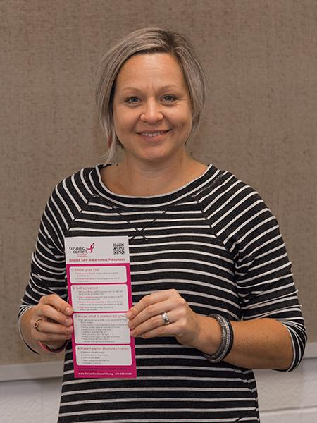 Amberlea Childs, program manager for Kohl's Conversations for a Cure, spoke to students about breast cancer at the MATC West Allis campus on Sept. 29.