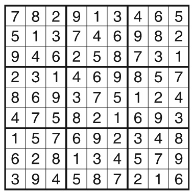 Answers for the Sudoku Puzzle