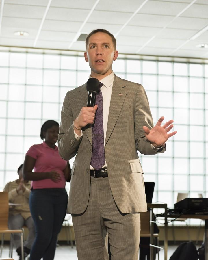 Senator Chris Larson encourages students to vote April 5. He is running for Milwaukee County Executive.
