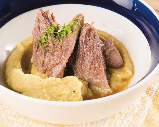 Apple Cider Braised Pork Shoulder with Curried Parsnip Puree can be made with ingredients found at a local farmers market.