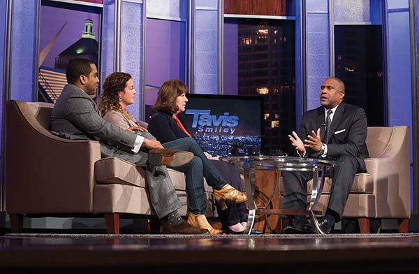 Tavis Smiley (right) interviews MATC alumni El Amin Abdullah (from left) and Kristin Gies, and MATC President Dr. Vicki Martin during the taping of his PBS talk show in Cooley Auditorium at MATC's downtown campus on Tuesday, April 19, 2016. Smiley made Milwaukee a stop on his