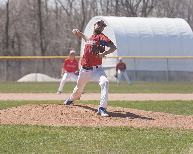 Right handed pitcher, Jacob Reetz, helped the Stormers win against the Wolves in the first game of a doubleheader on April 16.