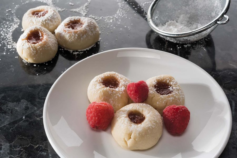 Thumbprint cookies satisfy your sweet tooth. Add raspberries for something extra fruity.