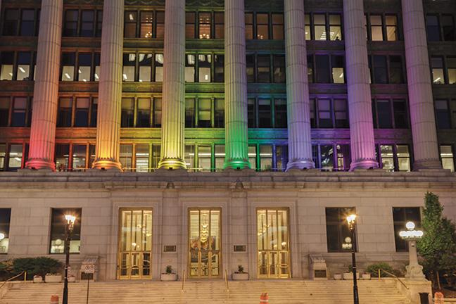 The Northwestern Mutual building at 626 E. Wisconsin Ave. in Milwaukee displays a sign of unity with the victims of the Orlando, Fla., nightclub shooting by lighting their building at night with the colors of the rainbow.
