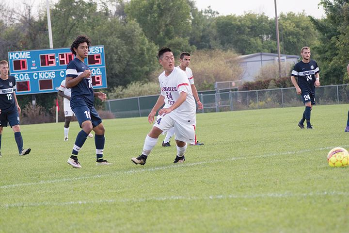 On Friday Sept. 9, MATC Stormers Men's Soccer went up against Madison College at the Oak Creek Campus. Dispite a valent effort, the Stormers lost with a score of 0-9 to Madison College. Defender, Shengyin Vang went his way to block a pass being made from the opposing team to prevent another goal being scored against MATC in the second half of the game.