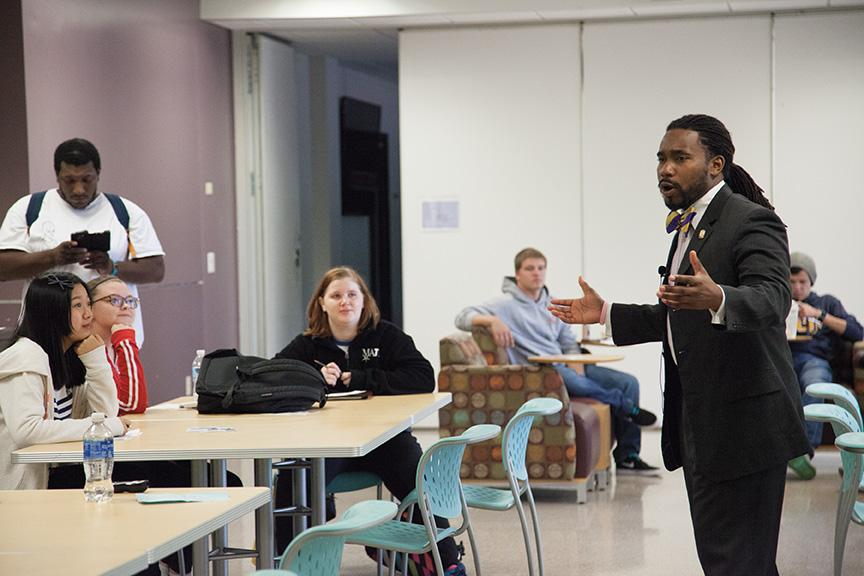 """Mequon campus hosted guest speaker Dr. Chris Irving on Sept. 27.  Irving engaged students about """"The Path to Leadership and Success."""""""