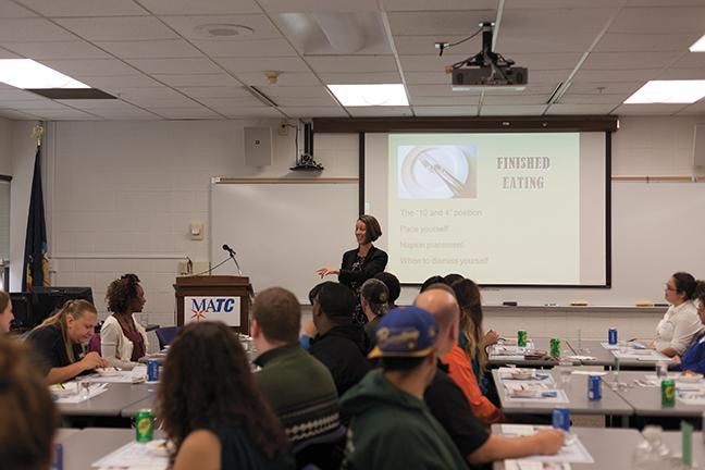 Professional dining etiquette presented by Lynn Hamburg at the West Allis campus on Oct. 27. Hamburg talked about rules on dining and etiquette to those in attendance.