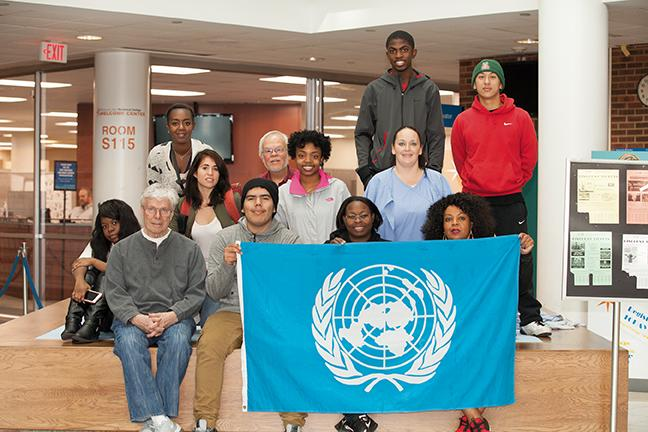 Ecological+Economics+class+members+show+their+support+of+the+works+of+the+United+Nations+by+displaying+the+U.N.+flag+in+the+atrium+in+the+S-Building+at+the+Downtown+Milwaukee+campus.