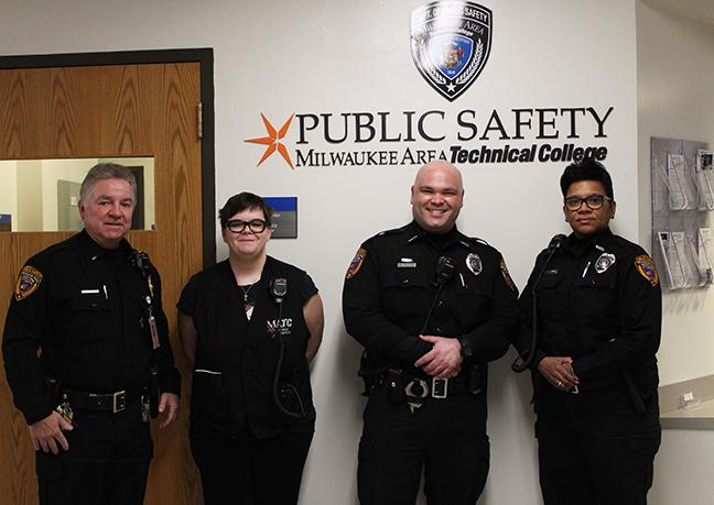From left: Randy Pruss (Lieutenant), Amber Jones (Student Aide), Nate Anhalt (Public Safety specialist), Lynetta Whitlow (Public Safety Specialist)