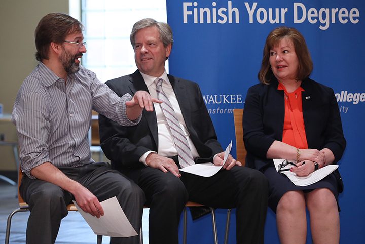 Community philanthropist, MATC From Left-Promise donor and Milwaukee County Executive Chris Abele; David Dull, chairperson of the MATC District Board and president and CEO, Allis Roller, LLC; and Dr. Vicki J. Martin, MATC president.