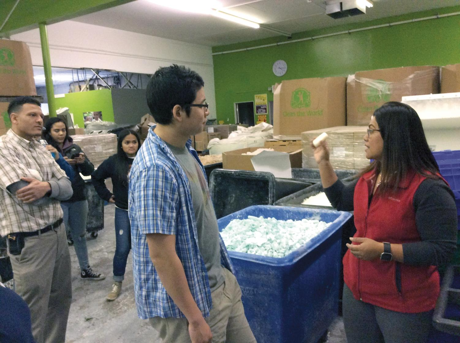 Photo/Beverly Johnson Students from the Future Hospitality Managers Association (FHMA) volunteer to help sort soap for the Clean the World organization.