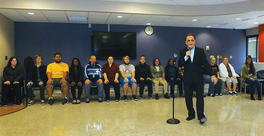 Jim Wand at the West Allis Campus performs a group demonstration on Oct. 2.