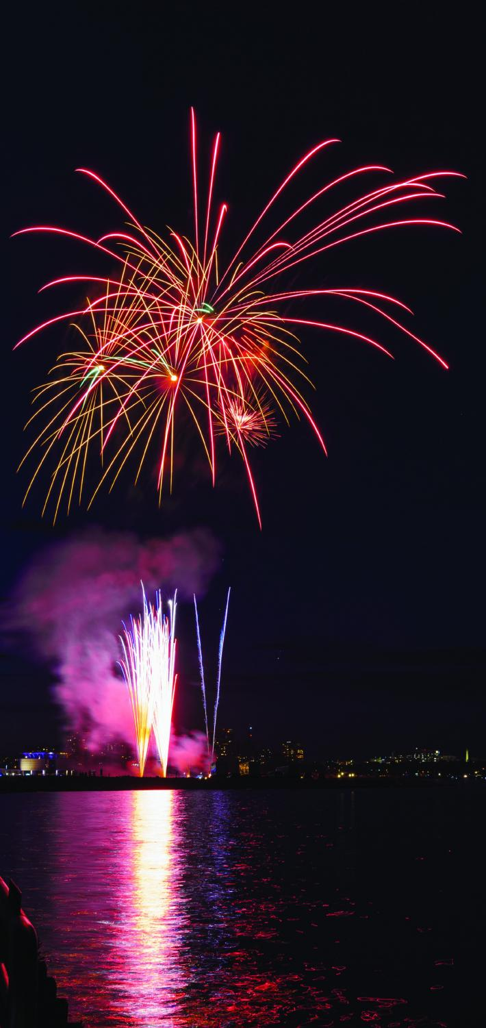 """Every year Summerfest is celebrated with a large fireworks display. Pictured here is a portion of the """"Big Bang."""" The end of Summerfest marks the beginning of many other festivals in the area, including the 10 featured in the article by Victoria Alexander."""
