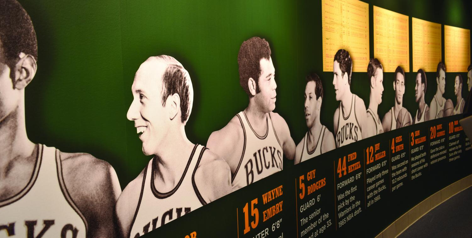 This montage of portraits and player stats pays homage to the history of the Bucks. It is the first jewel you will see on your behind-the-scenes tour. The 90-minute walking tour is $15 per person. Top of page: The signature wall in the green room includes messages from Justin Timberlake and Josh Groban.