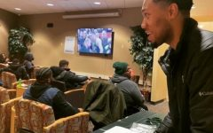 Alumnus Ja Quin Brown-Holland enjoyed his time at the college as the Milwaukee Bucks brand ambassador. This watch party was one of the last events held before the lockdown.