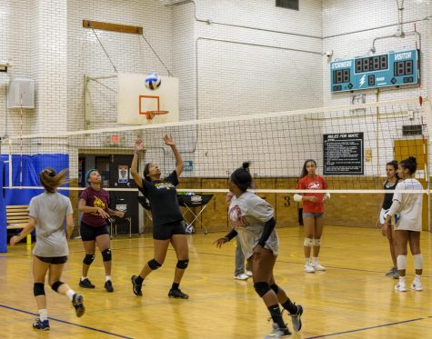 Volleyball anyone? Tryouts for the womens volleyball team took place recently at the downtown campus. The team is preparing for their first game, which will take place later this month.